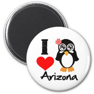 Arizona Penguin - I Love Arizona 6 Cm Round Magnet