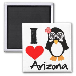 Arizona Penguin - I Love Arizona Square Magnet