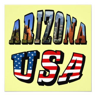 Arizona Picture and USA Flag Text 13 Cm X 13 Cm Square Invitation Card