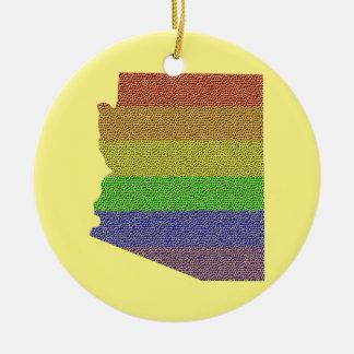 Arizona Rainbow Pride Flag Mosaic Round Ceramic Decoration