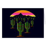 Arizona Saguaro Cactus Christmas Lights at Sunset Greeting Card