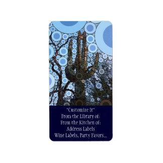 Arizona Saguaro Cactus Concentric Circle Mosaic Address Label