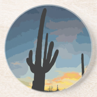 Arizona Saguaro Cactus Southwestern Sunset Coaster