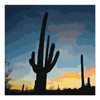 Arizona Saguaro Cactus Southwestern Sunset Custom Invitation