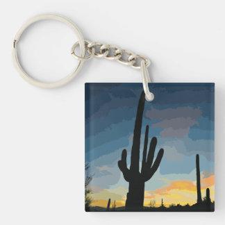 Arizona Saguaro Cactus Southwestern Sunset Key Ring