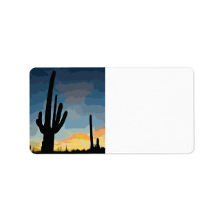 Arizona Saguaro Cactus Southwestern Sunset Label
