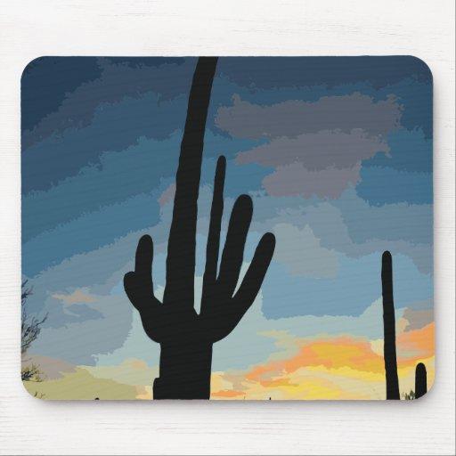 Arizona Saguaro Cactus Southwestern Sunset Mousepad