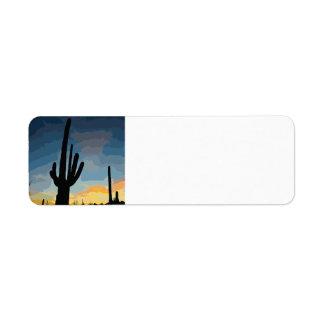 Arizona Saguaro Cactus Southwestern Sunset Return Address Label