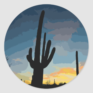 Arizona Saguaro Cactus Southwestern Sunset Round Sticker