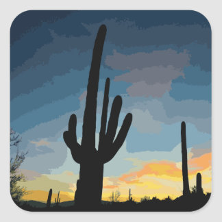Arizona Saguaro Cactus Southwestern Sunset Square Sticker