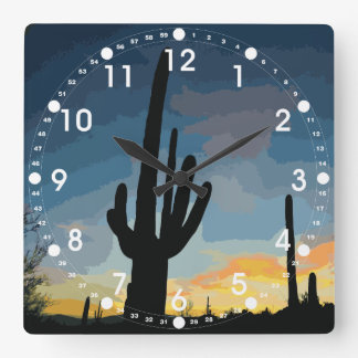 Arizona Saguaro Cactus Southwestern Sunset Square Wall Clock
