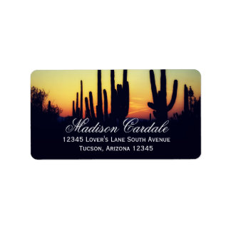 Arizona Saguaro Cactus Sunset Address Labels