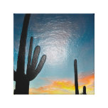 Arizona Saguaro Cactus  Sunset Plastic 3d Art Canvas Print