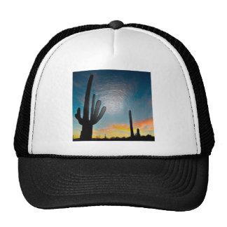 Arizona Saguaro Cactus  Sunset Plastic 3d Art Trucker Hat