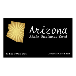 Arizona State Business Card Sun Rays Metallic Gold