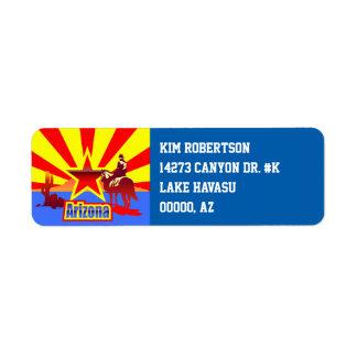 Arizona State Flag Vintage Illustration Return Address Label