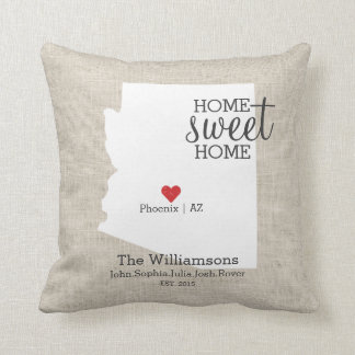 Arizona State Love Home Sweet Home Custom Map Cushion