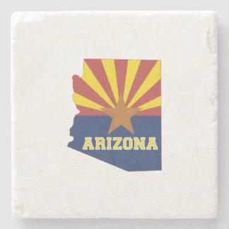 Arizona State Map and Flag Stone Coaster