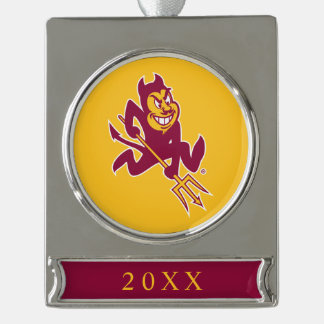 Arizona State Sparky Silver Plated Banner Ornament