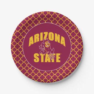 Arizona State Sun Devil | Quatrefoil Pattern Paper Plate