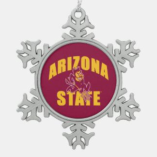 Arizona State Sun Devil Snowflake Pewter Christmas Ornament