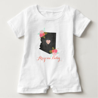 Arizona State Watercolor Floral & Heart Baby Girl Baby Bodysuit