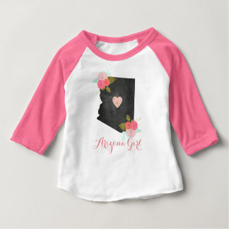 Arizona State Watercolor Floral & Heart Girl's Baby T-Shirt
