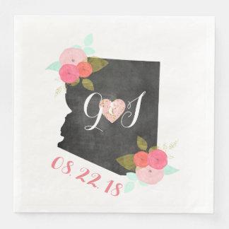 Arizona State Watercolor Floral Monogram Wedding Disposable Serviette