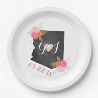 Arizona State Watercolor Floral Monogram Wedding Paper Plate