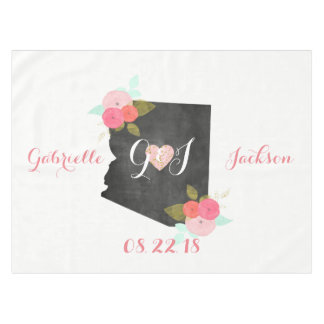Arizona State Watercolor Floral Monogram Wedding Tablecloth