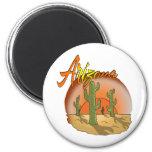 ARIZONA Sunset Cactus 6 Cm Round Magnet
