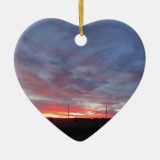Arizona Sunset Double-Sided Heart Ceramic Christmas Ornament