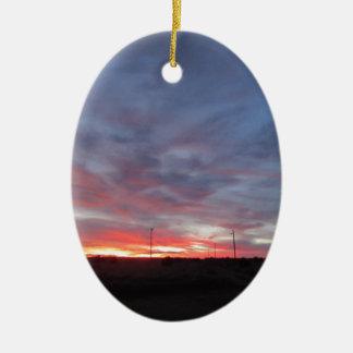 Arizona Sunset Double-Sided Oval Ceramic Christmas Ornament