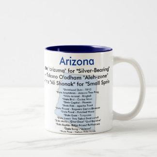 Arizona Symbols and Map Two-Tone Coffee Mug