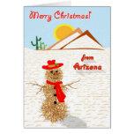 Arizona Tumbleweed Snowman Christmas Stationery Note Card