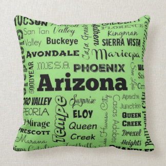 Arizona typography throw pillow in green and black