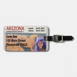 Arizona Zombie Hunter Permit Luggage Tag