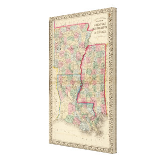 Ark, Miss, La Map by Mitchell Canvas Print