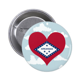 Arkansan Flag on a cloudy background 2 Inch Round Button