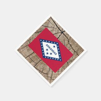 Arkansan flag on tree bark disposable napkins