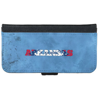 Arkansan name and flag on cool wall iPhone 6 wallet case