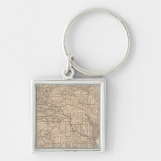 Arkansas Atlas Map Silver-Colored Square Key Ring
