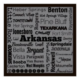 Arkansas cities typography art poster