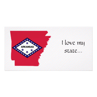Arkansas Flag Map Personalized Photo Card