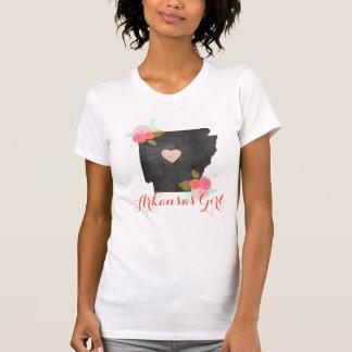 Arkansas Girl Watercolor Floral & Moveable Heart T-Shirt