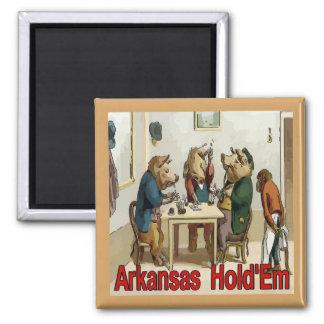 Arkansas Hold 'Em Poker Hogs Square Magnet