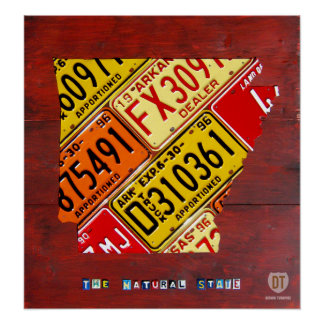 Arkansas License Plate Map Print