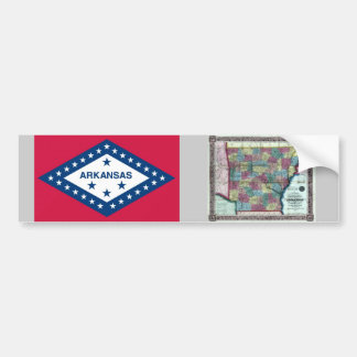 Arkansas Map and State Flag Bumper Sticker