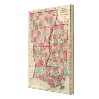 Arkansas, Mississippi, and Louisiana Canvas Print