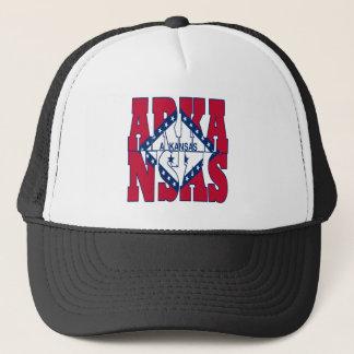 Arkansas patriotic state flag text trucker hat
